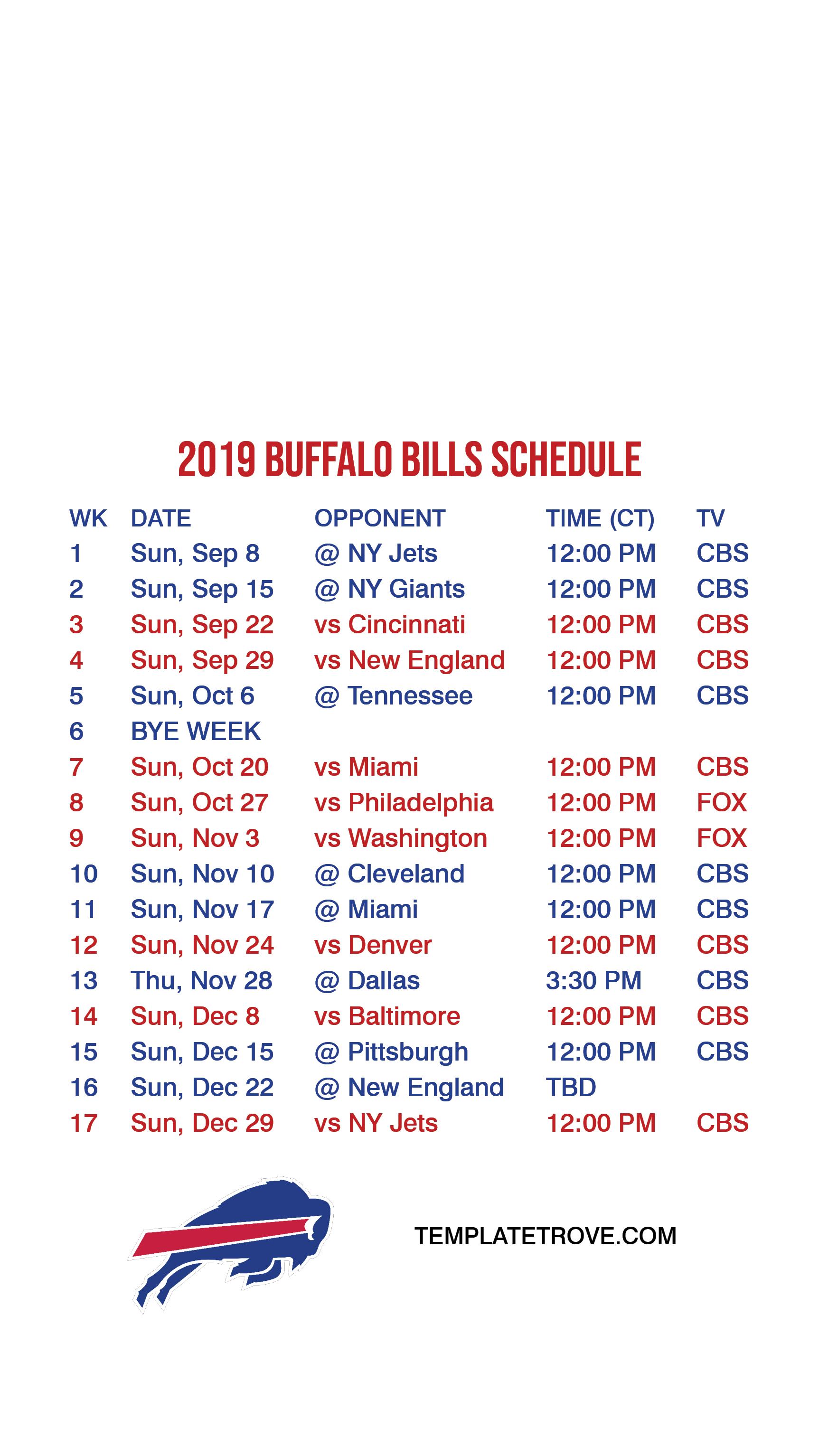 2019 2020 Buffalo Bills Lock Screen Schedule For Iphone 6