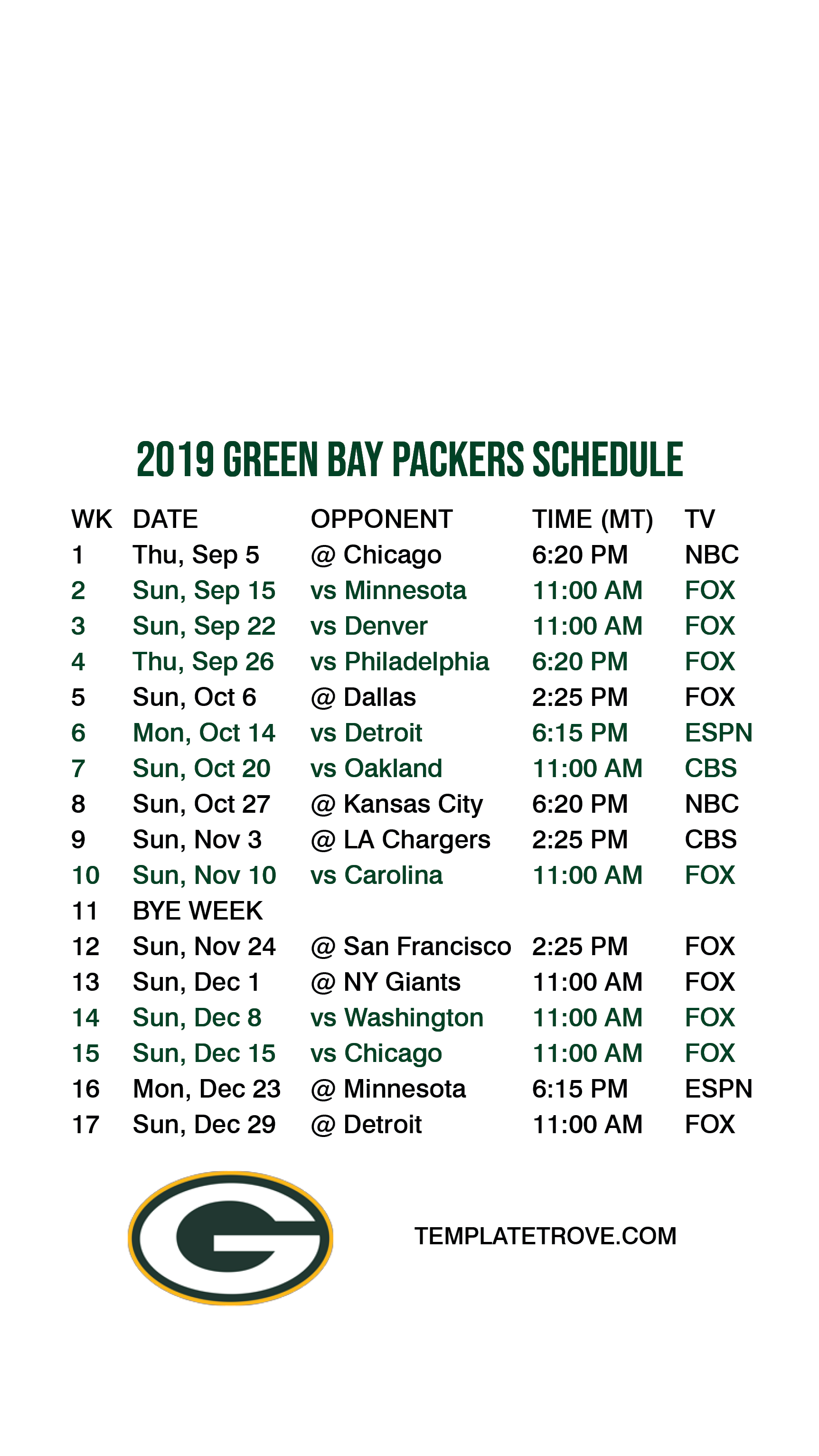 This is a photo of Impertinent Green Bay Schedule 2020 Printable