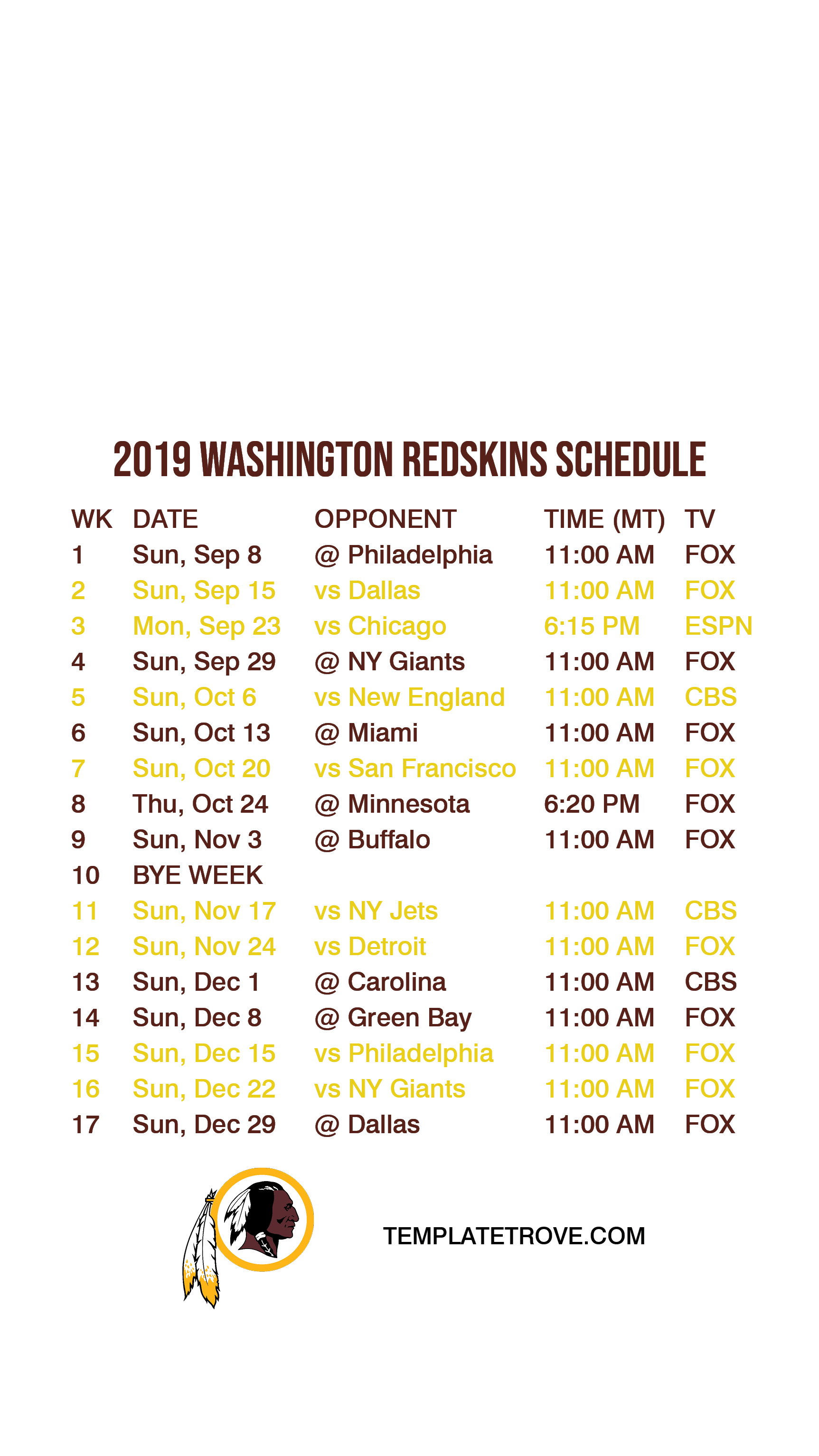 It is an image of Agile Printable Redskins Schedule 2020