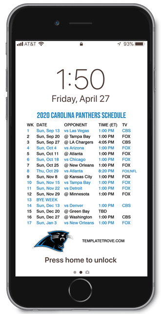 2020 Carolina Panthers Lock Screen Schedule