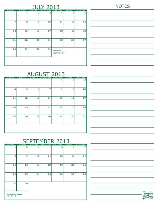 3 month calendar 2013