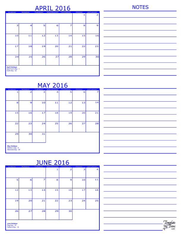... Calendar Template April 2016 To June 2016 | Calendar Template 2016