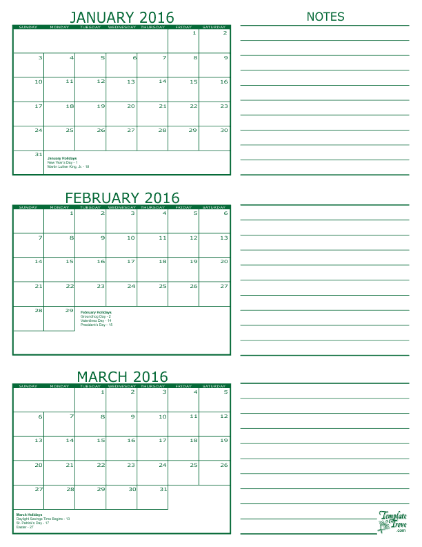 Free Online Pdf Calendars Month On A Page Downloadable And Very ...