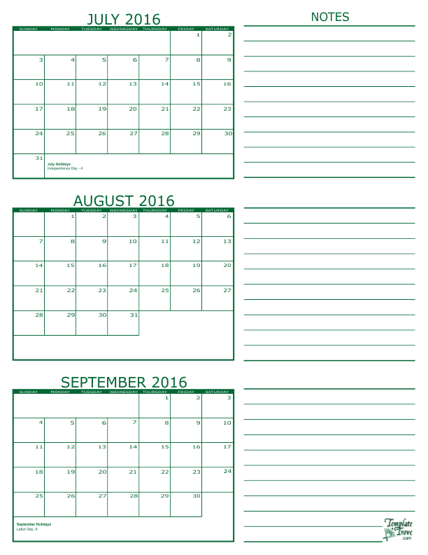 Month Calendar - July, August and September