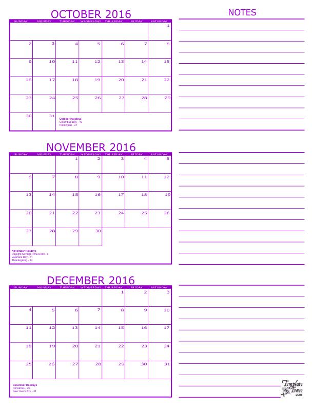 2016 3 Month Calendars