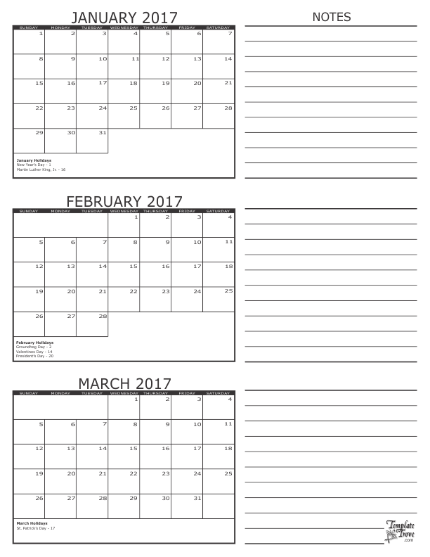 ... 11 3 calendar months on each page with a notes section for each month