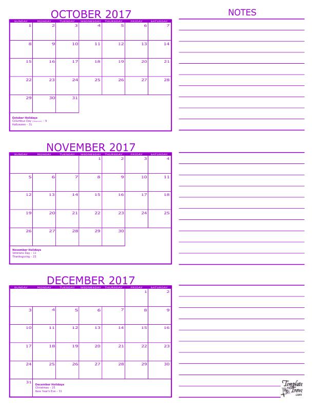 3 Month Calendar - 2017