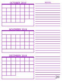 Calendar 2019 December 3 Month 3 Month Calendar   2019