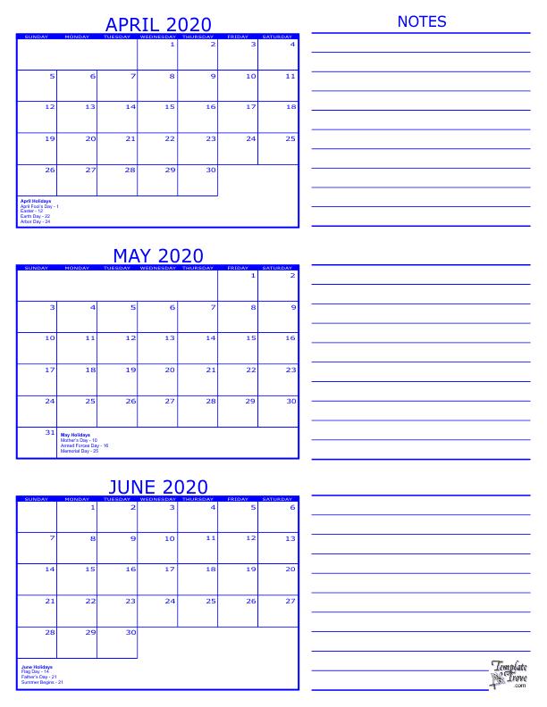 3 Month Calendar - 2020