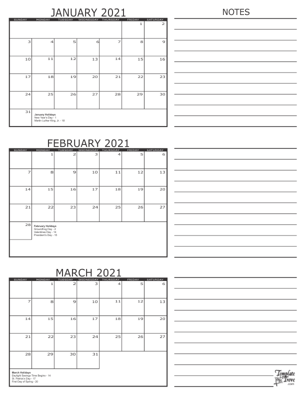 Free Printable 3 Month Calendar 2021 | Printable March