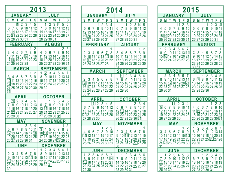 3-Year-Calendar-Template-2013-2014-2015-Green-792 Microsoft Word Free Newsletter Template on