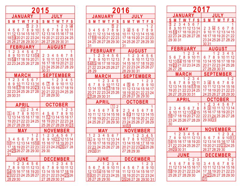 Calendar Red : Year calendar