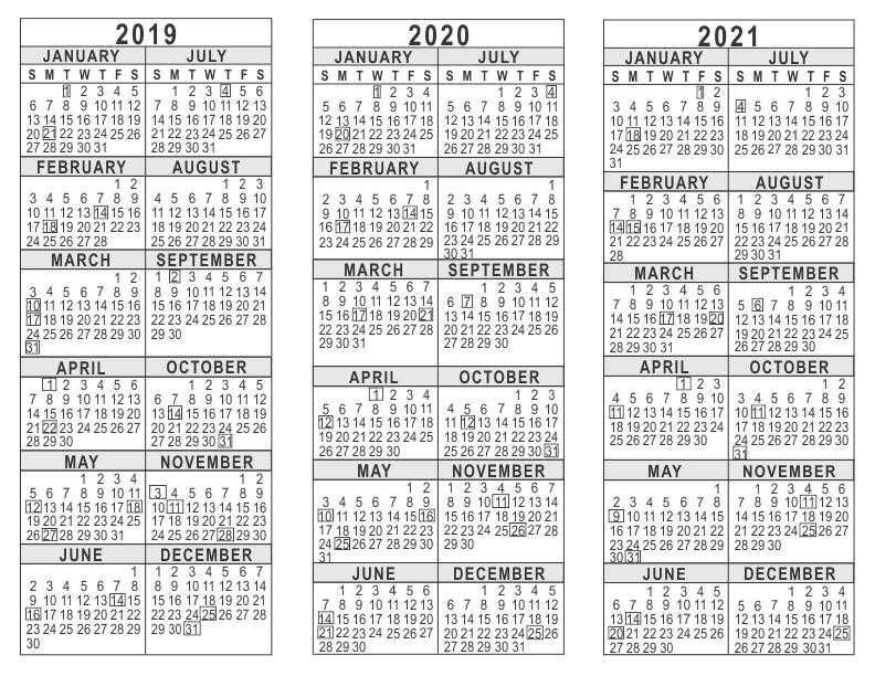 2019 2020 2021 3 year calendar