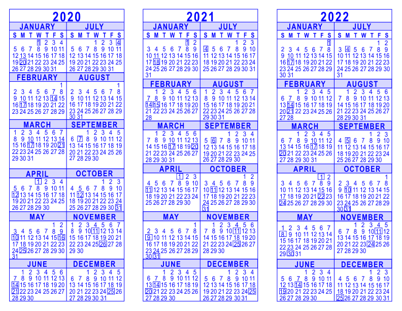 3-Year-Calendar-Template-2020-2021-2022-Blue-792 One Page Newsletter Template Word on free real estate, how make, sign up, committees june,