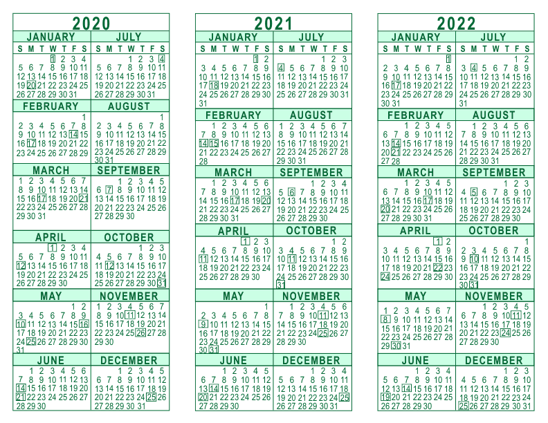 Year Calendar - 2020 through 2022