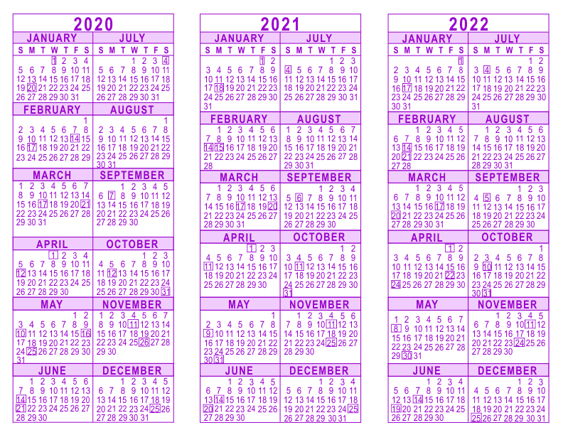 3-Year-Calendar-Template-2020-2021-2022-Purple-792  Page Photo Template For Newsletter on