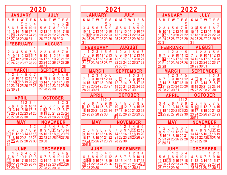 2020 2021 2022 3 Year Calendar