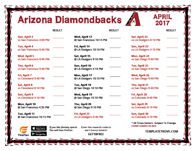 Arizona diamondbacks 2017 schedule downloadable software