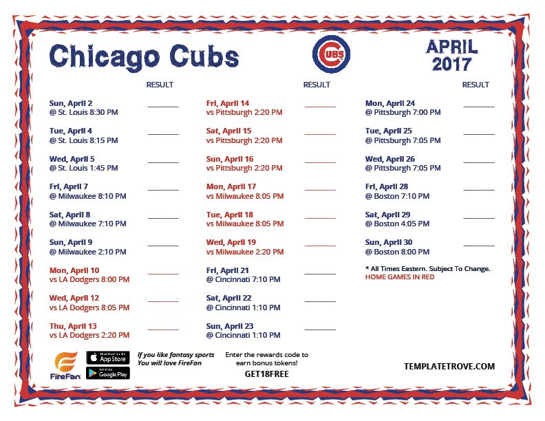 Invaluable image in chicago cubs schedule printable
