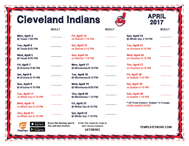 April-2017-Cleveland-Indians-Printable-Schedule-PNG Team Newsletter Template October on printable downloadable, free downloadable preschool,
