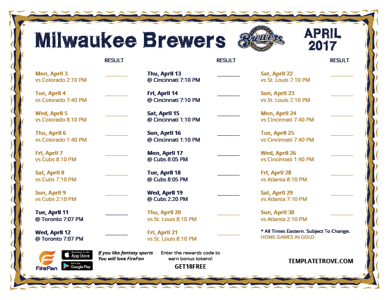 Stupendous image throughout milwaukee brewers printable schedule