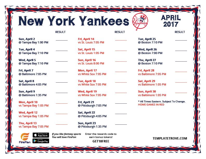 Calendar 2019 Yankees