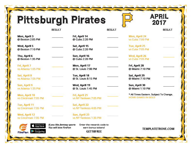 image relating to Pirates Printable identified as Printable 2017 Pittsburgh Pirates Routine