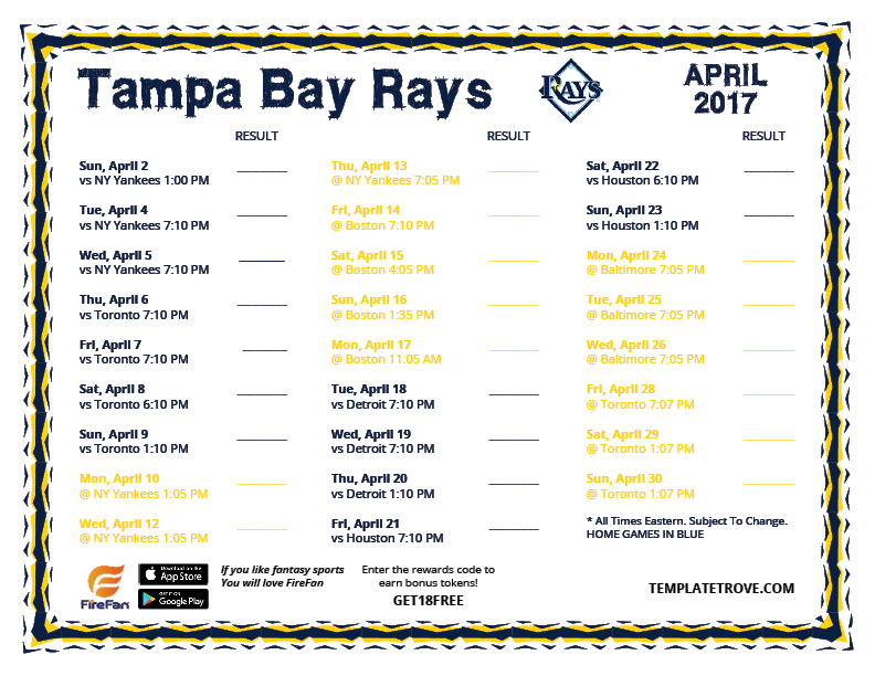 printable 2017 tampa bay rays schedule