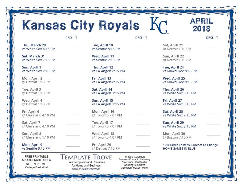 Printable 2018 Kansas City Royals Schedule