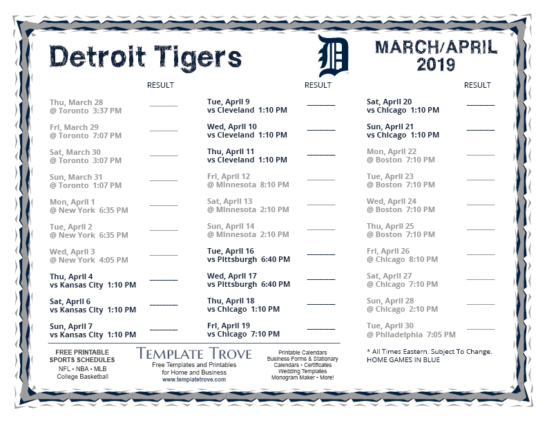Amazing image with regard to detroit tigers printable schedule