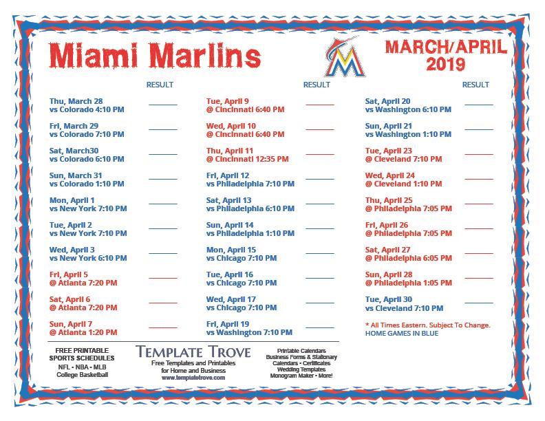 printable 2019 miami marlins schedule