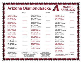 April 2020 Arizona Diamondbacks Printable Schedule