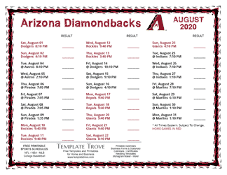 August 2020 Arizona Diamondbacks Printable Schedule