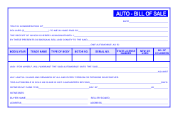 Auto Bill of Sale Template - Blue