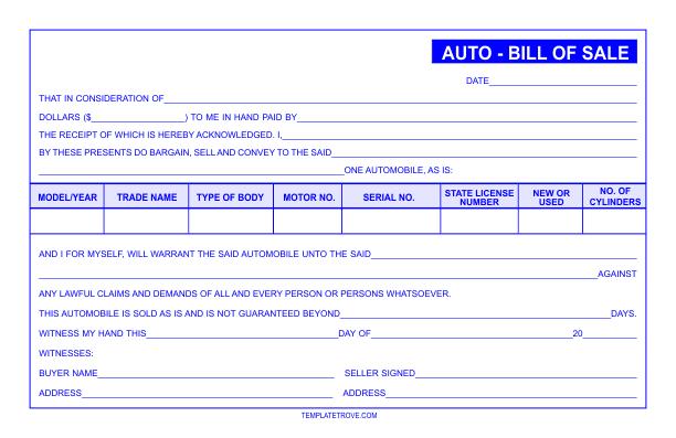 Auto Bill Of Sale Template >> Auto Bill of Sale Template