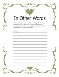 Bridal Shower Game - Khaki Border
