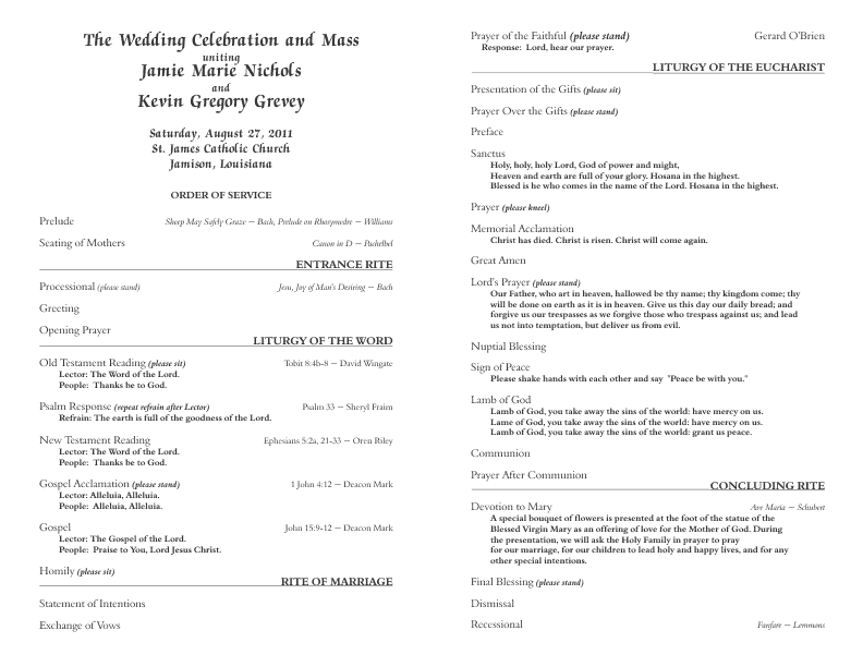 Catholic Wedding Program Template 6
