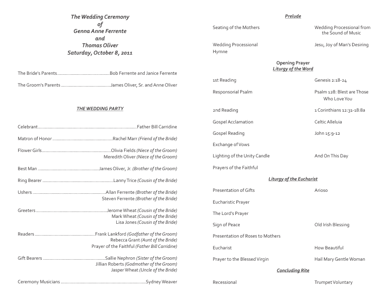 Catholic Wedding Program Template 7 .
