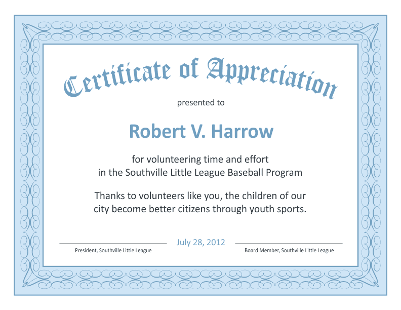 Volunteer Certificate Of Appreciation Templates Free Zrom