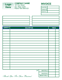 Free Invoice Template 1 - Green