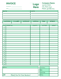 Free Invoice Template 2 - Green
