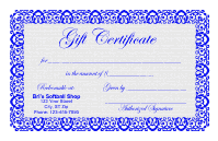 Gift Certificate Template 1 - Blue