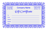 Gift Certificate Template 2 - Blue