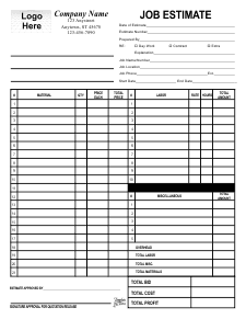 Job Estimate Form Templates