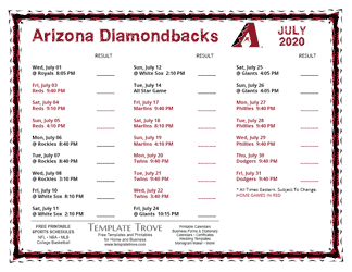 July 2020 Arizona Diamondbacks Printable Schedule
