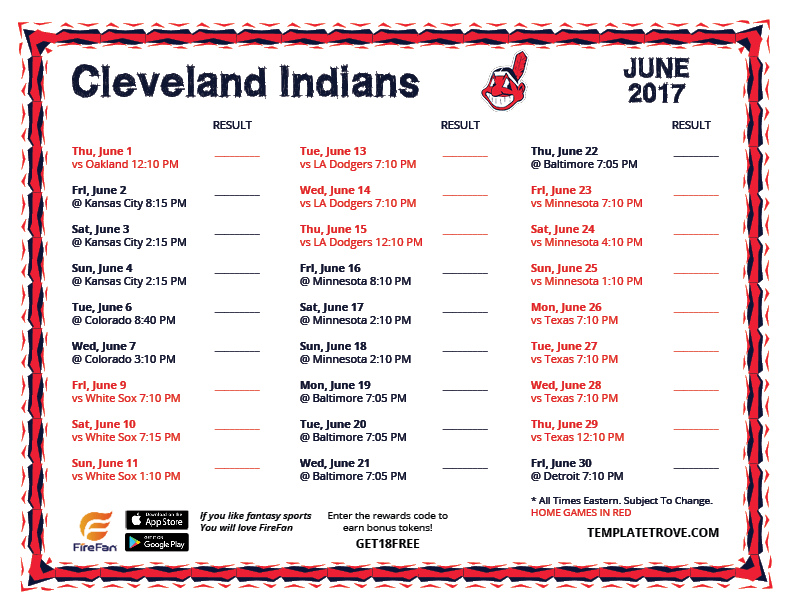 Clever image regarding indians printable schedule