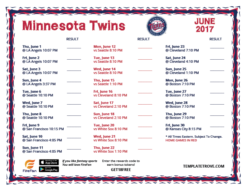 Dramatic image within mn twins printable schedule