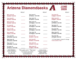 June 2020 Arizona Diamondbacks Printable Schedule