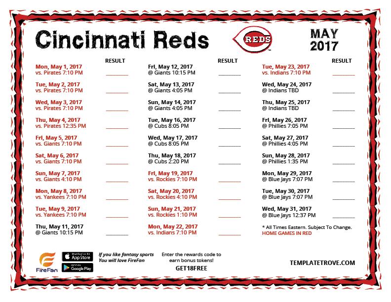 May 2017 Cincinnati Reds Printable Schedule