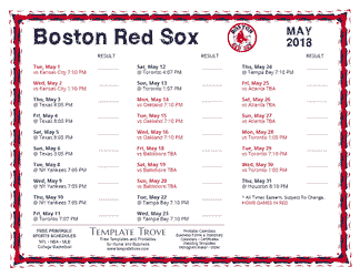 May 2018 Boston Red Sox Printable Schedule